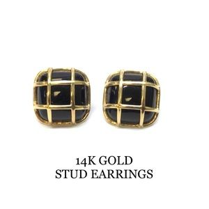 14K YELLOW GOLD ONYX EARRINGS CAGED  STUD